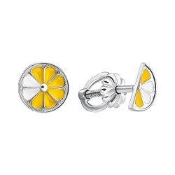 Серебряные серьги-пуссеты Сочный лимон в разрезе с цветной эмалью