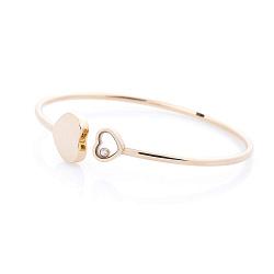Золотой браслет Два сердца с кристаллом циркония 000064986
