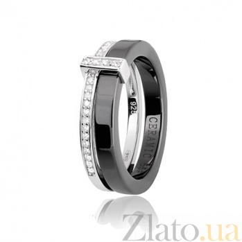Керамическое кольцо с фианитами Арабелла 000028324