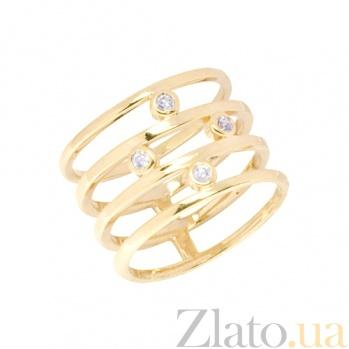 Широкое кольцо из желтого золота с фианитами Дарлин 000022958