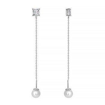 Серебряные серьги-подвески с жемчугом и фианитами 000028978