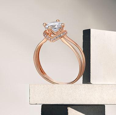Кольцо из красного золота с фианитами 000145401