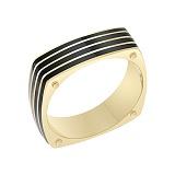 Перстень в желтом золоте Победитель с эмалью