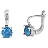 Серебряные серьги с голубыми фианитами Маэра