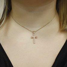 Золотой крестик Надина с кристаллами циркония