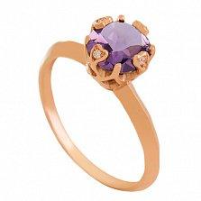 Золотое кольцо с аметистом и фианитами Милдред