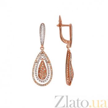 Золотые серьги с белым цирконием Зарина VLT--ТТ258-5