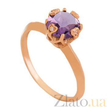 Золотое кольцо с аметистом и фианитами Милдред VLN--112-1799-4
