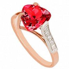 Золотое кольцо Ингеборга с корундом и фианитами