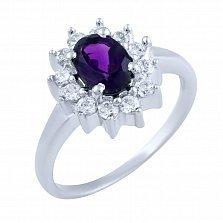 Серебряное кольцо Селин с аметистом и фианитами