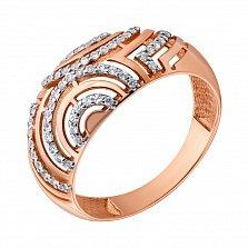 Золотое кольцо из красного золота с фианитами Вилора