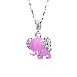 Детское серебряное колье Слон с розовой эмалью и белыми фианитами, 14х17мм