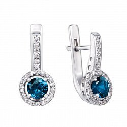Серебряные серьги с лондон топазами и фианитами 000135635
