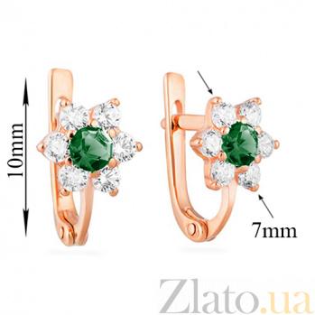 Золотые серьги Орхидея с зеленым и белым цирконием SUF--110154з