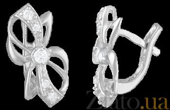 Серьги из серебра с цирконием Бантики SLX--СК2Ф/013