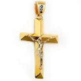 Золотой крест Искупительное распятие в комбинированном цвете с фианитами