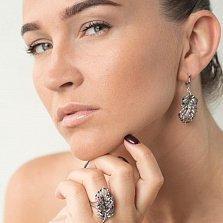 Серебряное кольцо Волшебное перышко с разноцветными фианитами