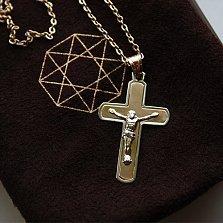 Золотой крест в комбинированном цвете Спаситель
