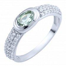 Серебряное кольцо Алсу с зеленым аметистом и фианитами