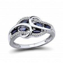 Кольцо из белого золота Реджина с бриллиантами и сапфирами