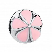 Серебряный шарм Цветочное настроение с розовой эмалью