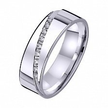 Золотое обручальное кольцо На волне любви с фианитами