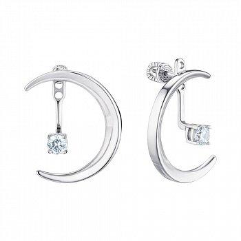 Серебряные серьги-джекеты с фианитами 000148857