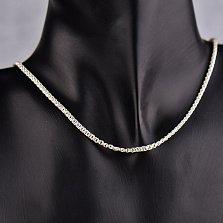 Серебряная цепь Галла в плетении бисмарк, 3мм