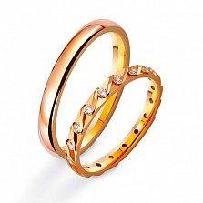 Золотое обручальное кольцо Дорога жизни с фианитами