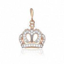 Серебряный позолоченый подвес Корона принцессы с цирконием