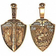 Золотая ладанка Георгий и Архангелы