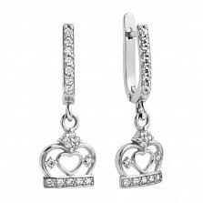 Серебряные серьги-подвески Царь-корона с фианитами