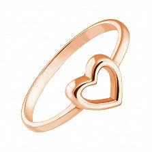 Золотое кольцо I love you с шинкой в форме сердца в красном цвете