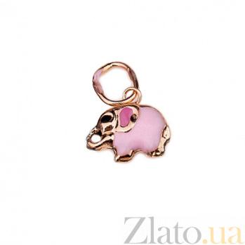 Золотая подвеска Слоник с розовой эмалью 000026421