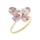 Золотое кольцо с аметистами и бриллиантами Летний мотылек