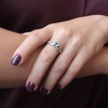 Серебряное кольцо Катрина с голубым кварцем и фианитами