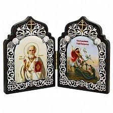 Складень на дереве с образами Георгия Победоносца и Святителя Николая