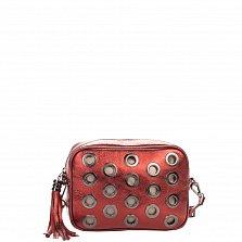 Кожаный клатч Genuine Leather 1617 бордового цвета с декоративной перфорацией и замком-молнией