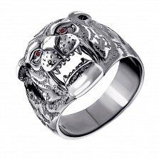 Серебряное кольцо Сила тигра с красными фианитами и чернением