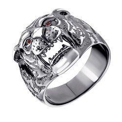 Серебряное кольцо с красными фианитами и чернением 000072823