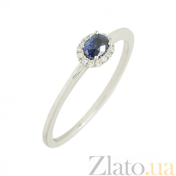 Золотое кольцо с сапфиром и бриллиантами Аюна 1К036-0291