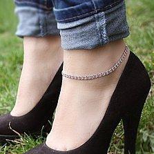 Серебряный браслет на ногу Мирена с розовым цирконием