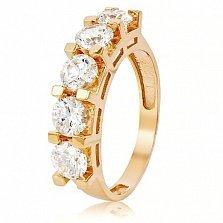 Золотое кольцо с кристаллами Swarovski Элиза