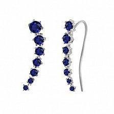 Серебряные серьги-каффы Пелагея с синим цирконием