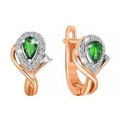 Позолоченные серебряные серьги с зелеными фианитами 000029145