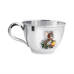 Серебряная чашка Мышонок Джерри с эмалью 000043526