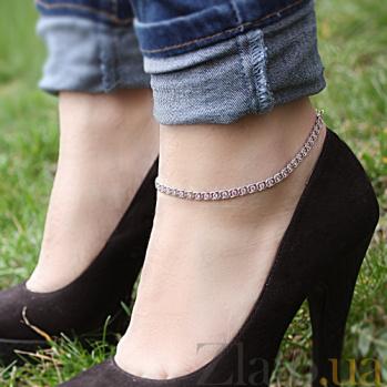 Серебряный браслет на ногу Мирена с розовым цирконием 000044841