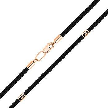Ювелирный шнурок из синтетической кожи с золотыми вставками и застежкой 000127912