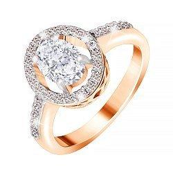 Позолоченное серебряное кольцо с цирконием 000028405