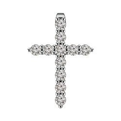 Крестик из белого золота с бриллиантами 0.65ct 000145345